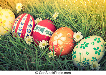 Easter Eggs with flower on Fresh Green Grass ( Filtered...