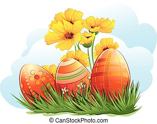 Easter eggs with flowers and grass