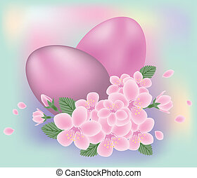 Easter eggs with flowers, vector