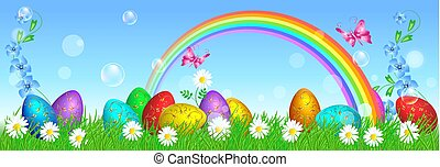Easter eggs with golden ornament stand on grass against rainbow