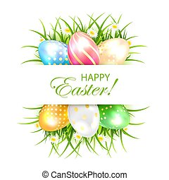 Easter eggs with grass and banner