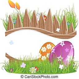 Easter eggs with grass and flowers