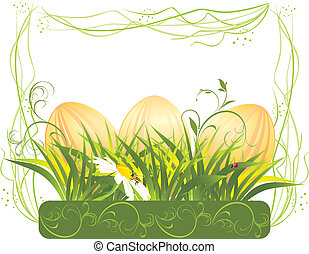 Easter eggs with grass in the frame