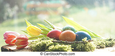 easter eggs with green moos with tulips at window in front of sunny garden