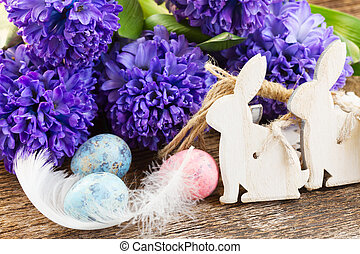 easter eggs with hyacinth