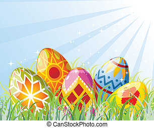 Easter eggs with ornament in grass, element for design,...