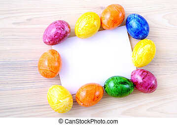 easter eggs with paper copy space