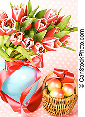 easter eggs with pink tulips