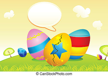 Easter Eggs with Speech Bubble