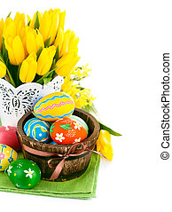 easter eggs with spring flowers - easter egg with spring...