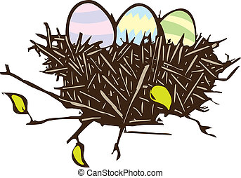 Easter Eggs - Woodcut style image of three Easter eggs in a...