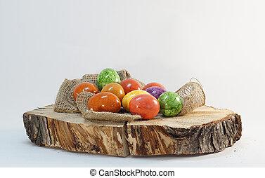 easter eggs wooden block