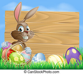 Easter Eggs Wooden Sign - Easter bunny character pointing at...
