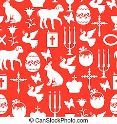 Easter element pattern seamless on red background