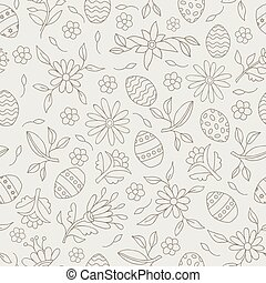 Easter elements seamless flower pattern background