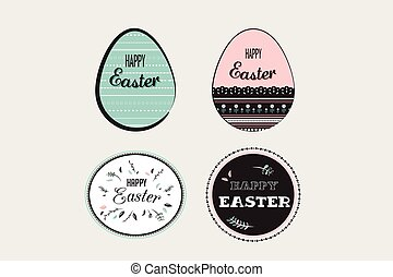 Easter elements with decorated egg and floral emblems.. vector illustration
