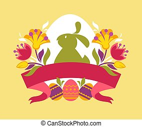 Easter emblem with bunny and eggs tulips and blank ribbon