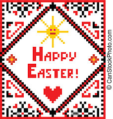 Easter embroidery with sun and heart