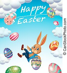 Easter festival with bunny and decorated eggs