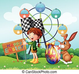 Easter festival with girl and bunny in the park