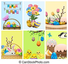 Easter Festive Cartoon Vector Concepts Collection