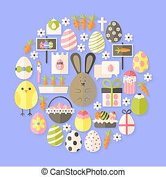 Easter Flat Icons Set circular shaped with shadow