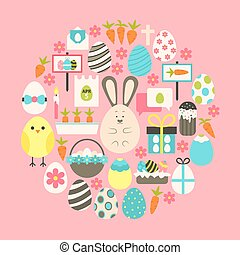Easter Flat Icons Set over pink