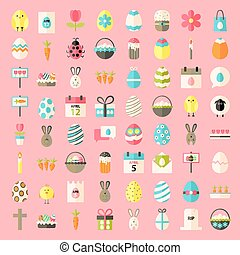 Easter flat style icons