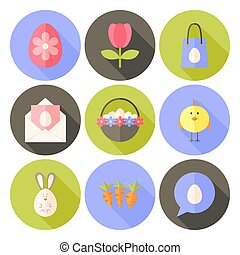 Easter flat styled circle icon set 2 with long shadow