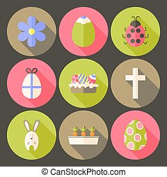Easter flat styled circle icon set 7 with long shadow