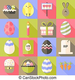 Easter flat styled icon set 1 with long shadow