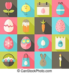 Easter flat styled icon set 2 with long shadow