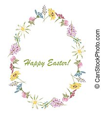 Easter, floral egg for your design