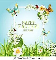 Easter floral frame with spring flower card design - Happy...