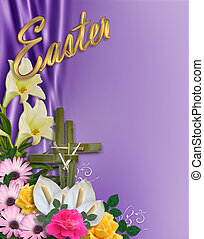 Easter Flowers Border with cross - Image and illustration...