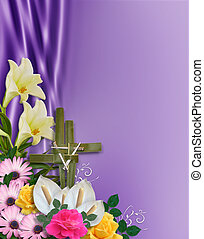 Image and illustration composition floral Corner design element for Easter card, invitation, background, border or frame with 3D gold text, cross of palms, copy space.