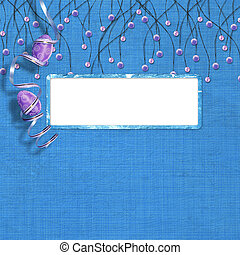 Easter frame with paint eggs and purple beads