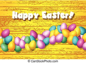 Easter frame with shiny colorful happy eggs spread over...