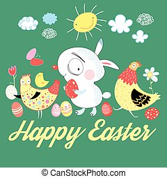 Easter fun card with bunny