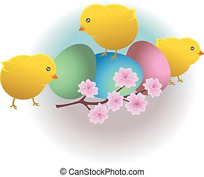Easter funny chicks and eggs