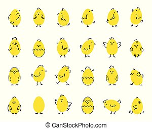 Easter funny cute chickens, flat vector illustration on white isolated background. Set