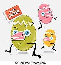Easter Funny Eggs Vector Illustration