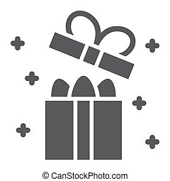 Easter gift box glyph icon, present and easter, eggs in package sign, vector graphics, a solid pattern on a white background.