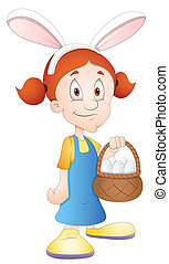 Easter Girl Cartoon Character