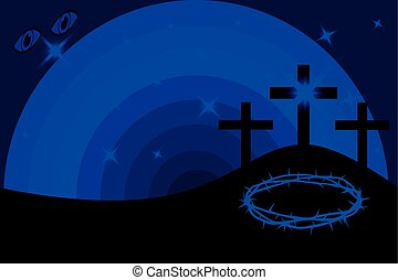 Easter - Golgotha, three crosses,