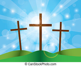 Easter Good Friday Crosses on Blue Sky Background - Happy...