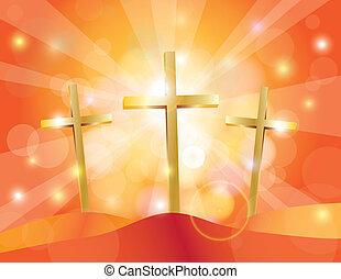 Easter Good Friday Gold Crosses Illustration - Happy Easter...