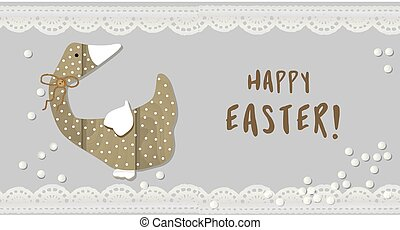Easter. Goose illustration. Duck. Domestic bird. Wooden figurine. Decorative element for your design. Happy easter..