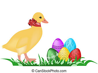 Easter gosling - Illustration of easter gosling wiht easter...