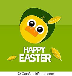 Easter Green Vector Background with Yellow Chicken